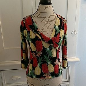 Bleu Heaven pineapple print top with jewel accents